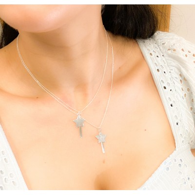 Sterling silver 925 wand pendant with glitter 15x15mm