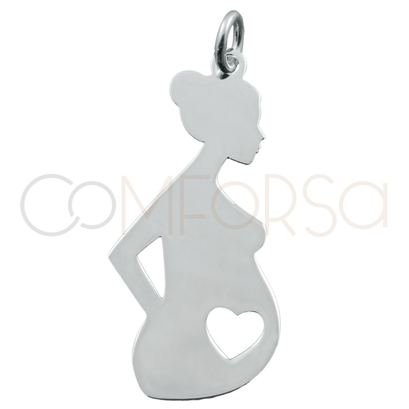 Engraving + Sterling silver 925 pregnant woman pendant 12x27mm