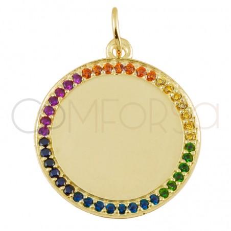 Colgante medallón circonitas arco iris 20mm plata 925 plata chapada