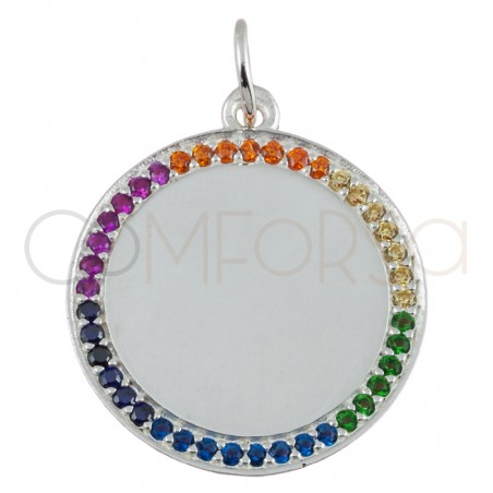 Engraving + Sterling silver 925 gold-plated colorful zirconias pendant 20mm