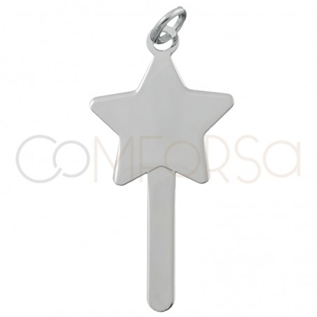 Engraving + Sterling silver 925 magic wand pendant 15x15mm