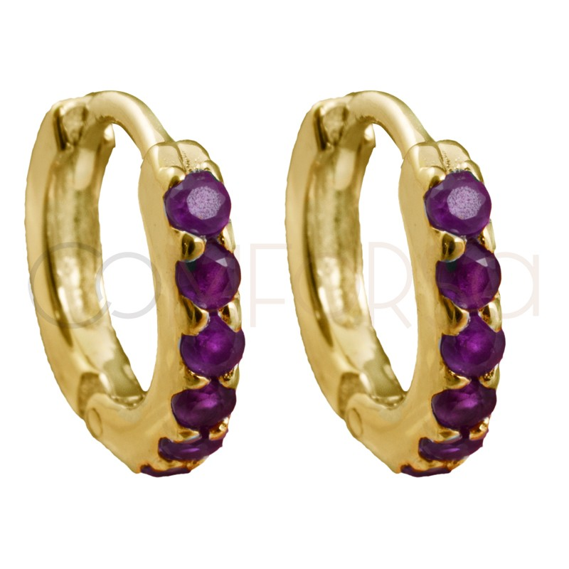 Sterling silver 925 gold-plated hoop earrings with rubi zirconias 10mm