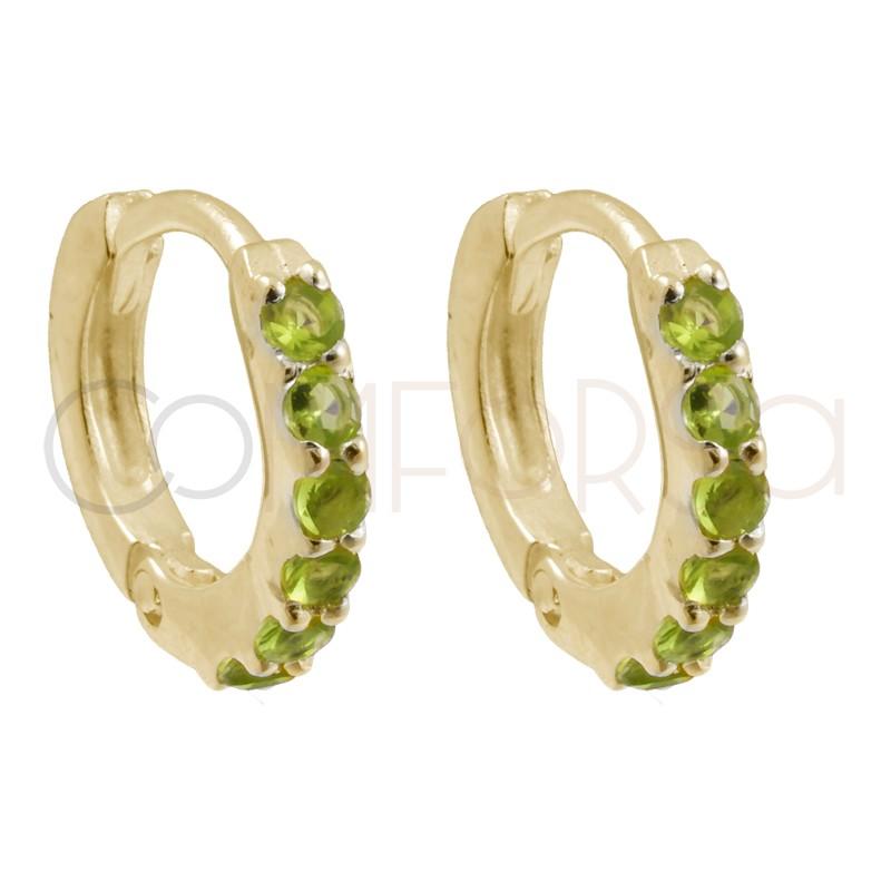Sterling silver 925 gold-plated hoop earrings with lemon zirconias 10mm