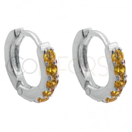 Sterling silver 925 hoop earrings with yellow zirconias 10mm