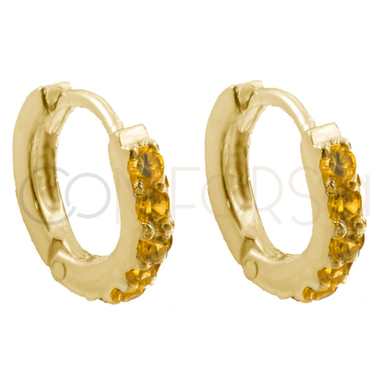 Sterling silver 925 gold-plated hoop earrings with yellow zirconias 10mm