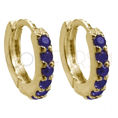Sterling silver 925 gold-plated hoop earrings with tanzanite zirconias 10mm