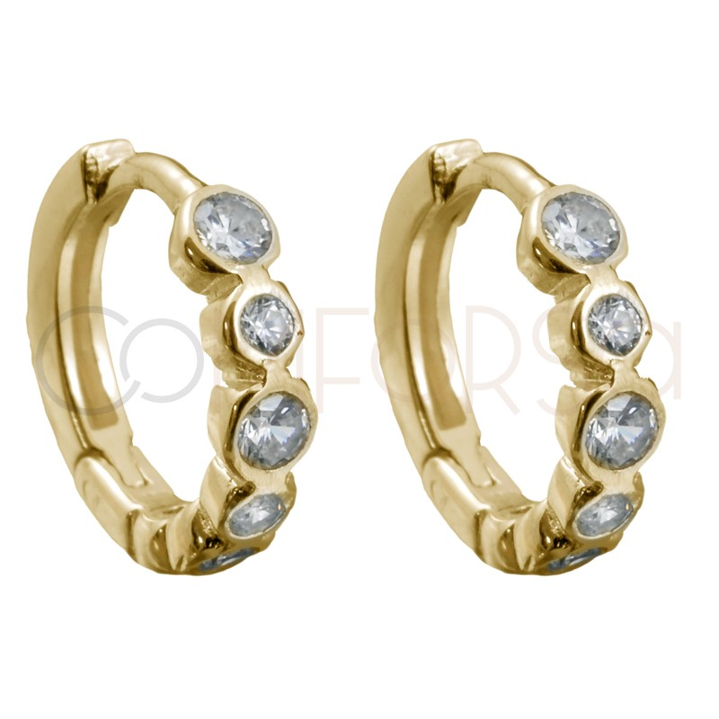 Sterling silver 925 gold-plated hoop earrings with white zirconias 10mm