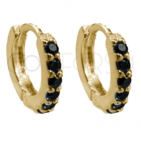 Sterling silver 925 gold-plated hoop earrings with Jet zirconias 10mm