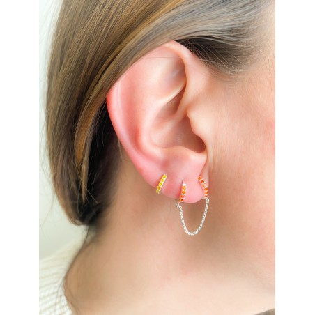 Sterling silver 925 double hoop earring with orange zirconias and chain