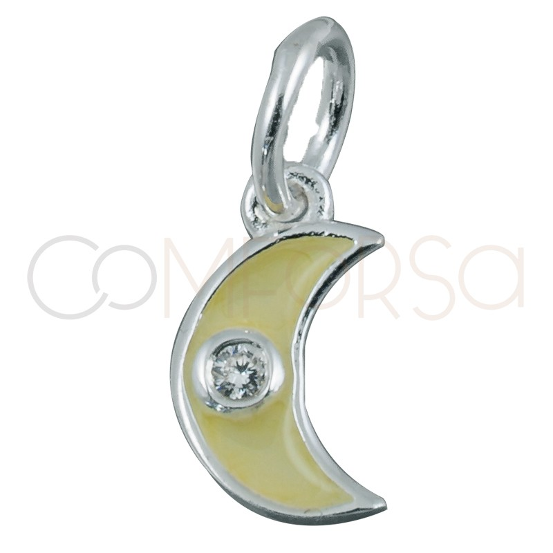 Sterling silver 925 beige moon pendant with zirconia 5x8mm