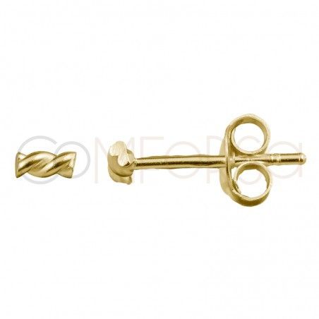 Sterling silver 925 gold-plated mini twisted earrings 2x4mm