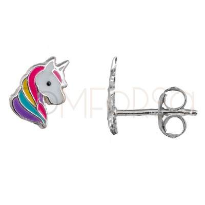Pendiente mini unicornio 6 x 8 mm plata 925
