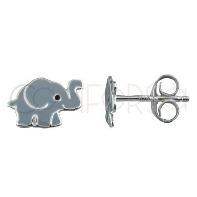 Sterling silver 925 mini elephant earrings 9x6mm