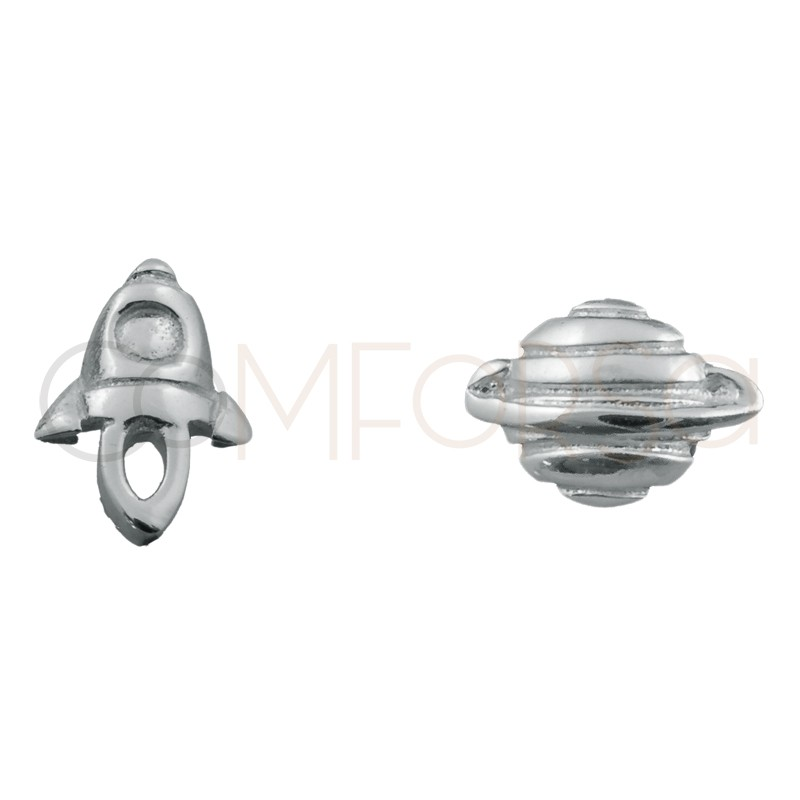 Sterling silver 925 mini rocketship and planet earrings 8x8mm