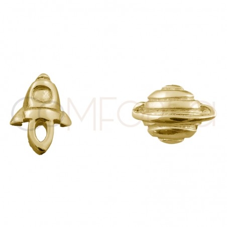 Sterling silver 925 gold-plated mini rocketship and planet earrings 8x8mm