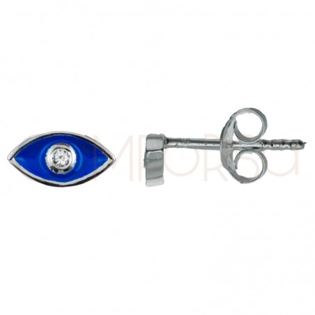 Sterling silver 925 gold-plated mini eye earring with zirconia 7.9x7mm