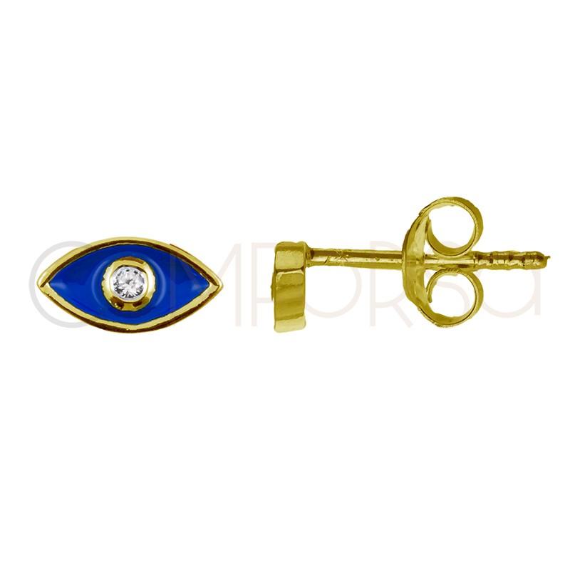 Pendiente mini ojo con circonita plata 925 chapada en oro