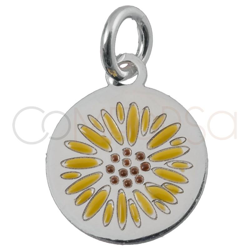 Sterling silver 925 sunflower pendant 10mm