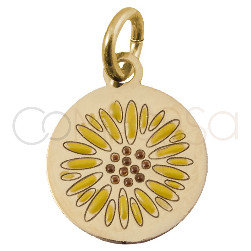 Sterling silver 925 gold-plated sunflower pendant 10mm