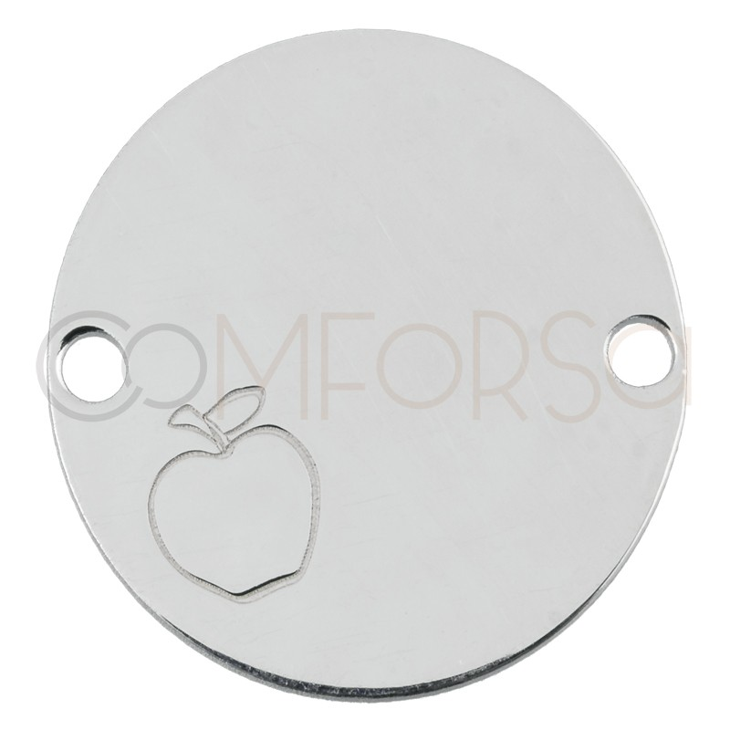 Engraving + Sterling silver 925 connector with apple 20mm