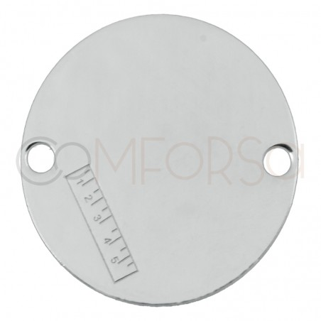 Engraving + Sterling silver 925 connector with ruler 20mm