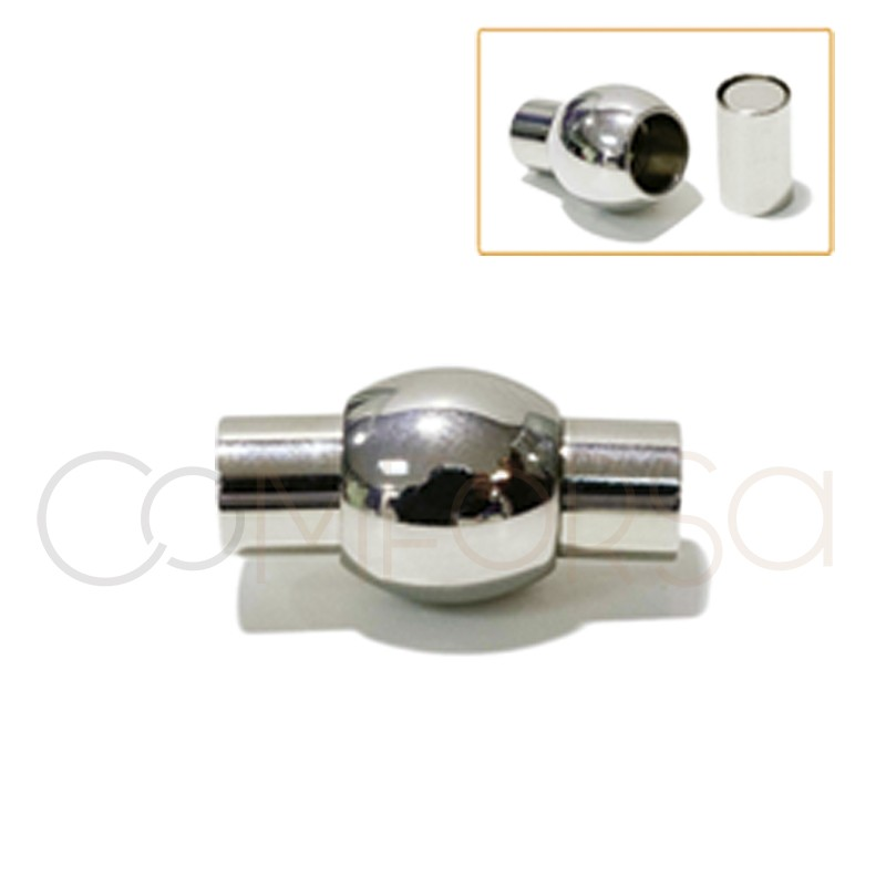 Steel clasp with magnet 19 x 11 mm (Ø 6)