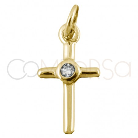 Sterling silver 925 gold-plated cross pendant zirconia 8x15mm