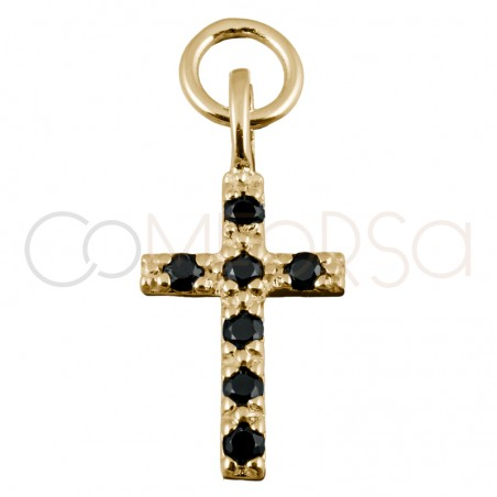 Sterling silver 925 gold-plated cross pendant jet zirconia 8x12mm