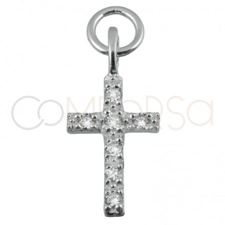 Sterling silver 925 cross pendant crystal zirconia 8x12mm