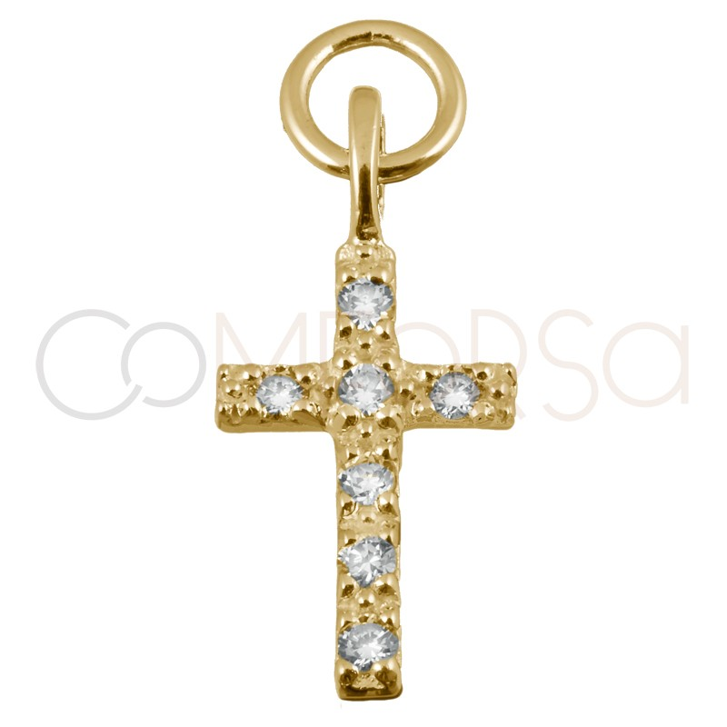 Sterling silver 925 gold-plated cross pendant crystal zirconia 8x12mm