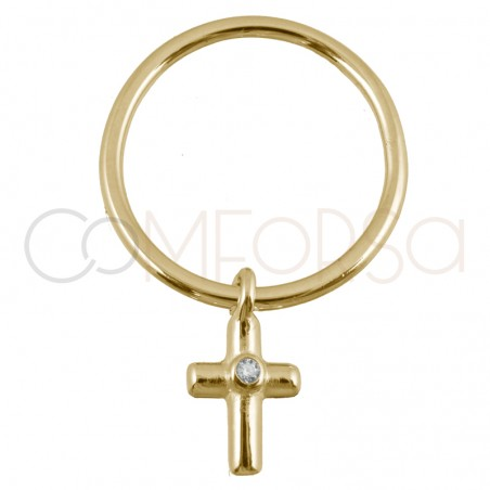 Sterling silver 925 gold-plated ring with cross pendant 8x13mm