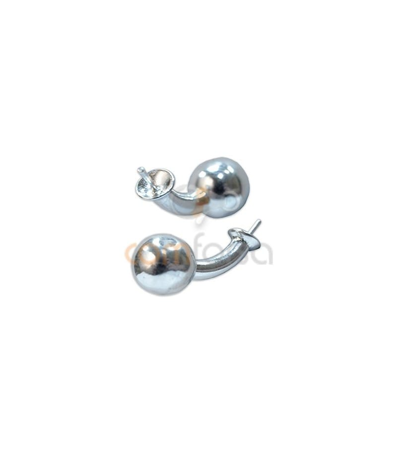 Sterling silver 925 Cufflink with peg and ball 22 mm
