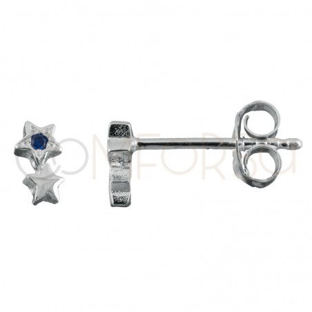 Sterling silver 925 star earrings with sapphire zirconia 3.5x5.5mm