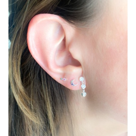 Sterling silver 925 star earrings with zirconia 3.5x5.5mm