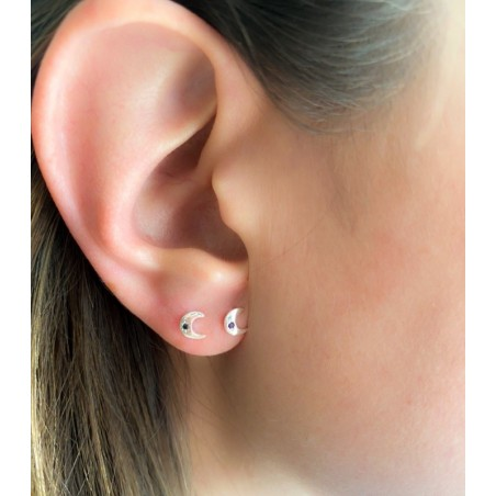 Sterling silver 925 moon earrings with amethyst zirconia 6x5mm