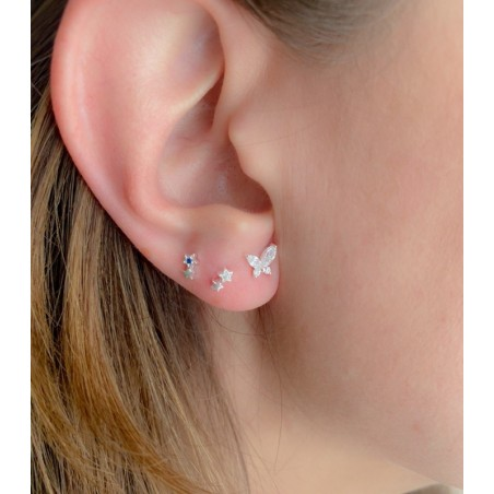 Sterling silver 925 star earrings with fuchsia zirconia 3.5x5.5mm