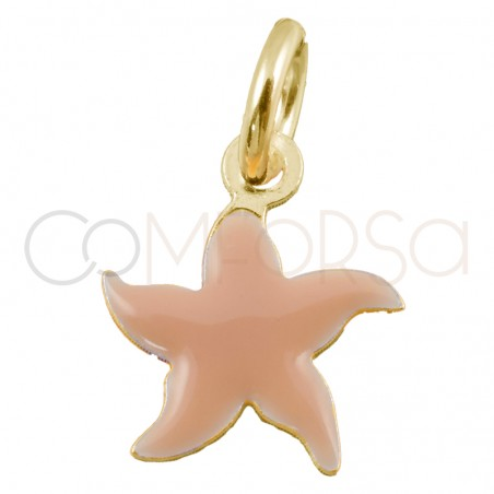 Sterling silver 925 gold-plated mini pink starfish pendant 8x8mm