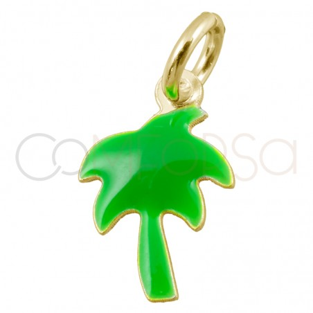 Sterling silver 925 gold-plated mini green palm tree pendant 7x11mm