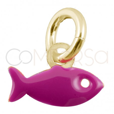 Sterling silver 925 gold-plated fuchsia fish pendant 8x5mm