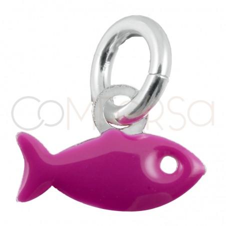Colgante pez fucsia mini plata 925
