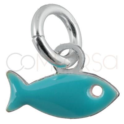 Colgante pez azul mini 8 x 5mm plata chapada en oro