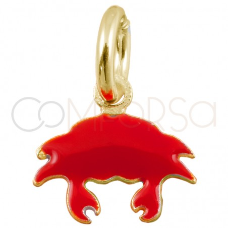 Sterling silver 925 gold-plated mini red crab pendant 8x7mm