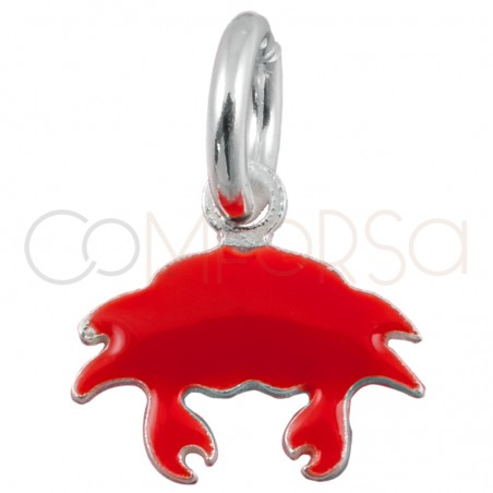 Sterling silver 925 mini red crab pendant 8x7mm