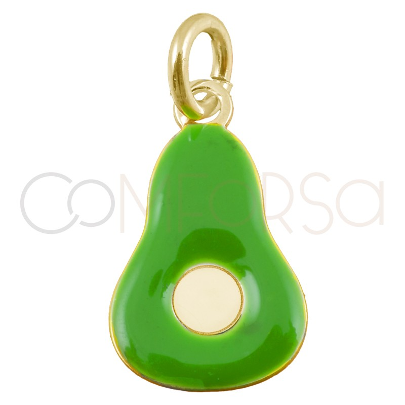 Sterling silver 925 gold-plated mini green avocado pendant 7x11mm