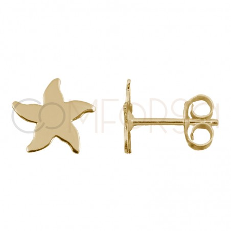 Sterling silver 925 gold-plated starfish earrings 8x8mm