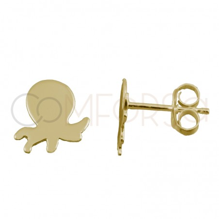 Sterling silver 925 gold-plated mini octopus earrings 7x8mm