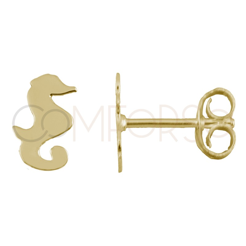 Sterling silver 925 gold-plated mini seahorse earrings 5x8mm