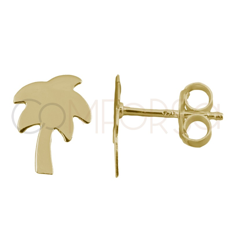 Sterling silver 925 gold-plated mini palm tree earrings 6x9mm