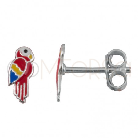 Sterling silver 925 mini colorful parrot earrings 3x8mm
