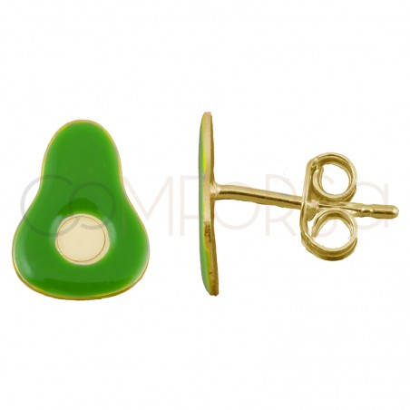 Sterling silver 925 gold-plated mini green avocado earrings 8x12mm